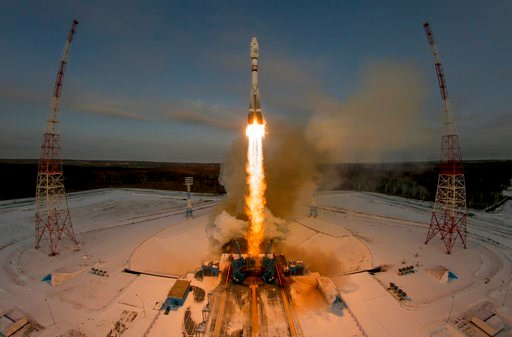 (AP Photo/Dmitri Lovetsky, File). FILE - In this Tuesday, Nov. 28, 2017 file photo, a Russian Soyuz 2.1b rocket carrying the Meteor M satellite and additional 18 small satellites lifts off from the launch pad at the new Vostochny cosmodrome outside the...