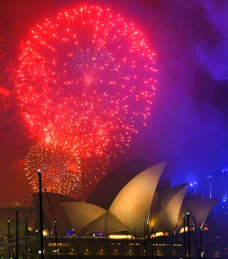 (David Moir/AAP Image via AP). Fireworks explode over the Opera House during New Year's Eve celebrations in Sydney, Australia, Sunday, Dec. 31, 2017.