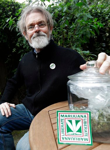(AP Photo/Jeff Chiu). In this Dec. 22, 2017 photo, Dale Gieringer of NORML (National Organization for the Reform of Marijuana Laws) poses for photos at his house in Berkeley, Calif. Californians may awake on New Year's Day to a familiar scent in greate...