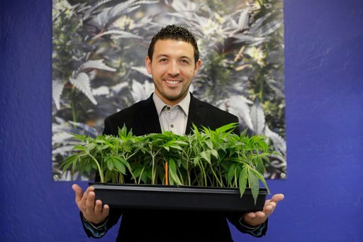 (AP Photo/Marcio Jose Sanchez). In this Dec. 29, 2017, photo, Khalil Moutawakkil, co-founder and CEO of KindPeoples, poses for a portrait with some marijuana plants in his dispensary in Santa Cruz, Calif.