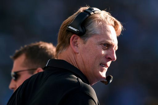 (AP Photo/Kelvin Kuo). Oakland Raiders head coach Jack Del Rio looks on during the second half of an NFL football game against the Los Angeles Chargers, Sunday, Dec. 31, 2017, in Carson, Calif.