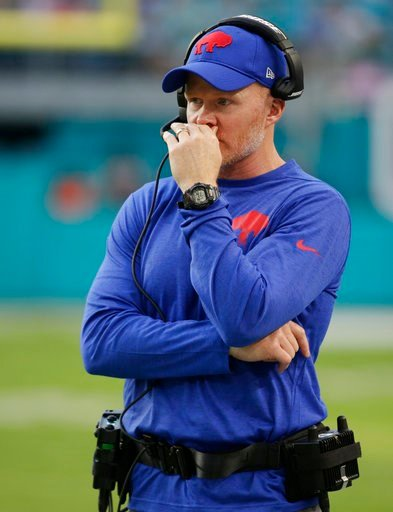 (AP Photo/Lynne Sladky). Buffalo Bills head coach Sean McDermott watches the team, during the first half of an NFL football game against the Miami Dolphins, Sunday, Dec. 31, 2017, in Miami Gardens, Fla.