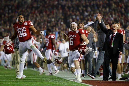 (AP Photo/Jae C. Hong). Oklahoma quarterback Baker Mayfield (6) celebrates after defensive back Steven Parker recovered a fumble and scored a touchdown against Georgia during the second half of the Rose Bowl NCAA college football game, Monday, Jan. 1, ...