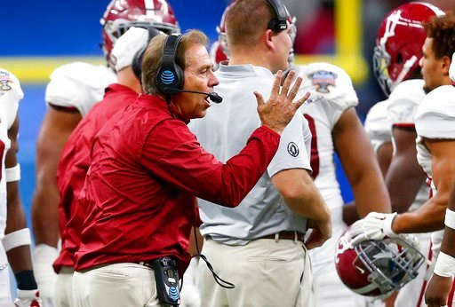 (AP Photo/Butch Dill). Alabama head coach Nick Saban talks to his team in the second half of the Sugar Bowl semi-final playoff game against Clemson for the NCAA college football national championship, in New Orleans, Monday, Jan. 1, 2018.