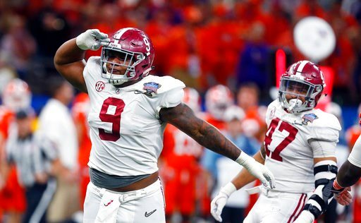 (AP Photo/Butch Dill). Alabama defensive lineman Da'Shawn Hand (9) celebrates his sack in the second half of the Sugar Bowl semi-final playoff game against Clemson for the NCAA college football national championship, in New Orleans, Monday, Jan. 1, 2018.