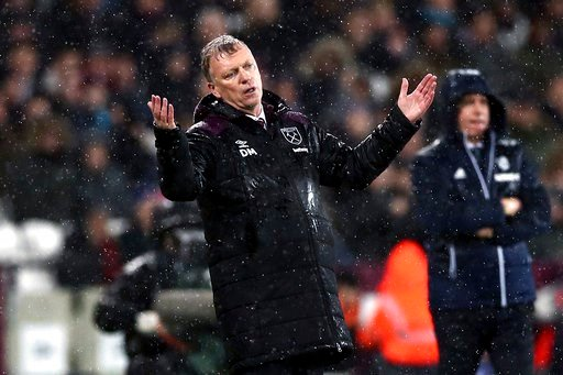 (John Walton/PA via AP). West Ham manager David Moyes gestures on the touchline during the English Premier League soccer match against West Bromwich Albion at London Stadium, in London, Tuesday Jan. 2, 2018.