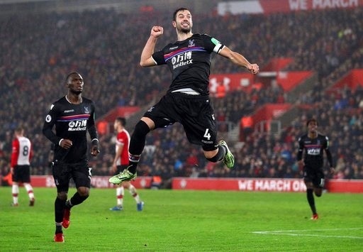 (Andrew Matthews/PA via AP). Crystal Palace's Luka Milivojevic celebrates scoring his side's second goal of the game against Southampton during their English Premier League soccer match at St Mary's Stadium in Southampton, Tuesday Jan. 2, 2018.