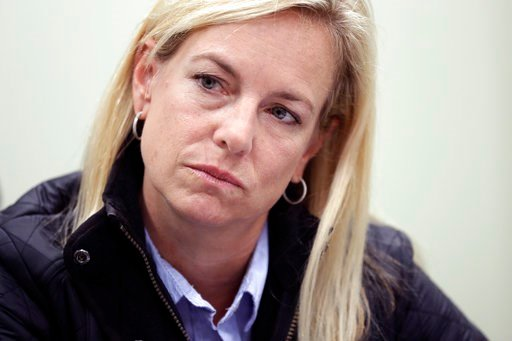 (AP Photo/Gregory Bull). Homeland Secretary Kirstjen Nielsen listens during an interview Tuesday, Jan. 2, 2018, in San Diego. Nielsen told The Associated Press  that the administration doesn't endorse citizenship for recipients of the Deferred Action f...