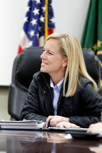 (AP Photo/Gregory Bull). Homeland Secretary Kirstjen Nielsen speaks during an interview Tuesday, Jan. 2, 2018, in San Diego. Nielsen told The Associated Press that the administration doesn't endorse citizenship for recipients of the Deferred Action for...