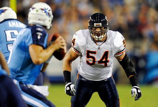 (AP Photo/Joe Howell, File). FILE - In this Aug. 27, 2011, file photo, Chicago Bears linebacker Brian Urlacher (54) watches as Tennessee Titans quarterback Matt Hasselbeck drops back to pass during an NFL football preseason game in Nashville, Tenn. Sta...