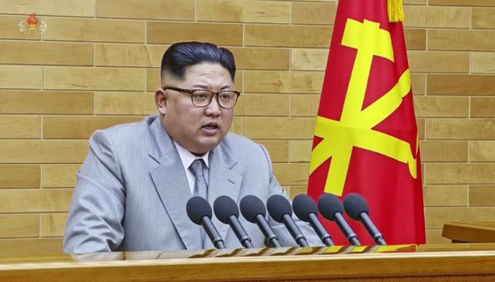 North Korean leader Kim Jong Un delivers his annual New Year's address. (Source: Korean Central TV/CNN)
