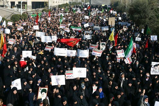 (AP Photo/Ebrahim Noroozi). In this Dec. 30, 2017, photo, Iranian protesters chant slogans at a rally in Tehran, Iran. The Trump administration is calling on Iran's government to stop blocking Instagram and other popular social media sites as Iranians ...