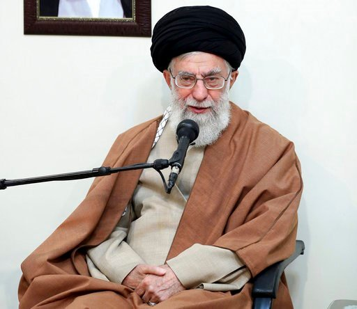 (Office of the Iranian Supreme Leader via AP). In this picture released by official website of the office of the Iranian supreme leader, Supreme Leader Ayatollah Ali Khamenei speaks in a meeting in Tehran, Iran, Tuesday, Jan. 2, 2018. The Trump adminis...