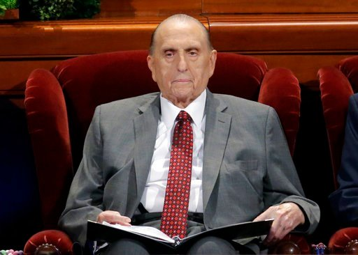 (AP Photo/Rick Bowmer, File). FILE - This April 1, 2017, file photo shows Thomas M. Monson, president of the Church of Jesus Christ of Latter-day Saints, at the two-day Mormon church conference in Salt Lake City. Monson, the 16th president of the Mormo...