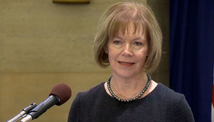 Minnesota Lt. Gov. Tina Smith was appointed to replace Al Franken following the Democrat's resignation over accusations of sexual misconduct. (Source: WCCO/Office of Governor Mark Dayton/CNN)