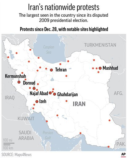 Update revises date range wording. Map locates the sites of protests which began on Dec. 28 over the economic hardships in Iran; 2c x 3 inches; 96.3 mm x 76 mm;