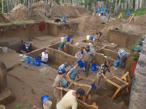 (Ben Potter/University of Alaska via AP). In this August 2013 photo provided by the University of Alaska, excavators work at the Upward Sun River discovery site in Alaska. According to a report released on Wednesday, Jan. 3, 2018, DNA from an infant wh...