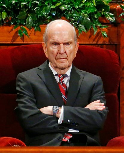 (AP Photo/Rick Bowmer, File). FILE - In this Sept. 30, 2017, file photo, Russell M. Nelson, president of the Quorum of the Twelve Apostles of The Church of Jesus Christ of Latter-day Saints looks on before the start of the two-day Mormon church confere...