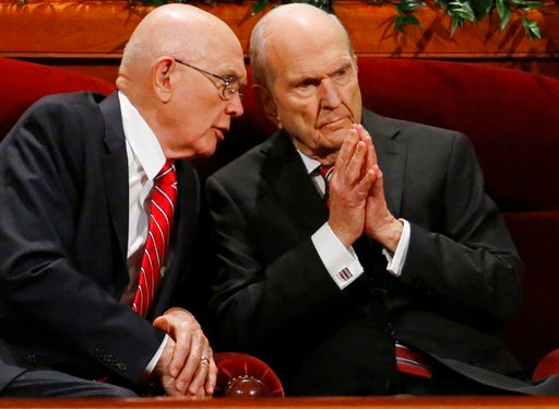 (AP Photo/Rick Bowmer, File). FILE - In this Sept. 30, 2017, file photo, Dallin H. Oaks, left, and Russell M. Nelson, members of a top governing body called the Quorum of the Twelve Apostles of The Church of Jesus Christ of Latter-day Saints conference...