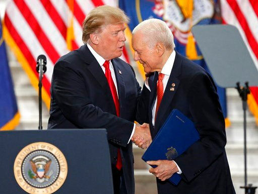 (AP Photo/Rick Bowmer, File). FILE - In this Dec. 4, 2017, file photo, President Donald Trump shakes Sen. Orrin Hatch, R-Utah, hand at the Utah State Capitol in Salt Lake City. Hatch says he will not seek re-election after serving more than 40 years in...