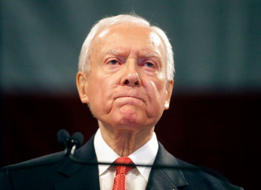 (AP Photo/Rick Bowmer, File). FILE - In this April 23, 2016, file photo, Sen. Orrin Hatch, R-Utah, speaks during the Utah Republican Party 2016 nominating convention in Salt Lake City. Hatch says he will not seek re-election after serving more than 40 ...