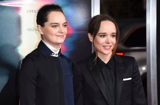 """(Photo by Richard Shotwell/Invision/AP, File). FILE - In this Sept. 27, 2017 file photo, Emma Portner, left, and Ellen Page arrive at the world premiere of """"Flatliners"""" at The Theatre at Ace Hotel  in Los Angeles.  Page has married Portner, her publici..."""