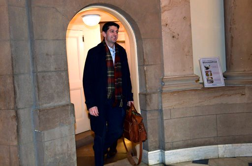 (AP Photo/Susan Walsh). House Speaker Paul Ryan of Wis., walks up a flight of stairs as he arrives at his office on Capitol Hill in Washington, Wednesday, Jan. 3, 2018. Ryan is meeting with White House Budget Director Mick Mulvaney and Legislative Dire...