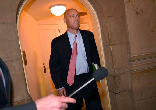 (AP Photo/Susan Walsh). Legislative Director Marc Short walks up a flight of stairs as he arrives for a meeting with House Speaker Paul Ryan of Wis., on Capitol Hill in Washington, Wednesday, Jan. 3, 2018. Ryan is hosting a meeting with Short, White Ho...