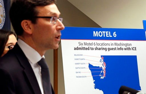 (AP Photo/Elaine Thompson). Washington state Attorney General Bob Ferguson addresses a news conference Wednesday, Jan. 3, 2018, in Seattle, announcing that his office is suing Motel 6. Ferguson said that the budget hotel disclosed the personal informat...