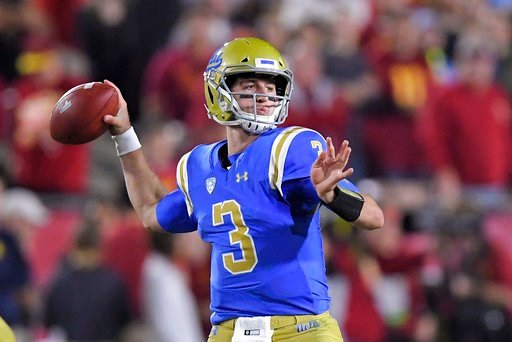 (AP Photo/Mark J. Terrill, File). FILE - In this Saturday, Nov. 18, 2017 file photo, UCLA quarterback Josh Rosen passes during the first half of an NCAA college football game against Southern California in Los Angeles. UCLA quarterback Josh Rosen is sk...