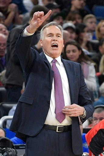 (AP Photo/Phelan M. Ebenhack). Houston Rockets head coach Mike D'Antoni calls out instructions during the first half of an NBA basketball game against the Orlando Magic, Wednesday, Jan. 3, 2018, in Orlando, Fla.