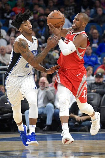 (AP Photo/Phelan M. Ebenhack). Houston Rockets guard Chris Paul (3), right, is fouled by Orlando Magic guard Elfrid Payton (2) while pushing the ball up the court during the first half of an NBA basketball game Wednesday, Jan. 3, 2018, in Orlando, Fla.