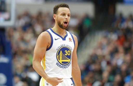 (AP Photo/LM Otero). Golden State Warriors guard Stephen Curry (30) reacts to a play during the first half of an NBA basketball game against the Dallas Mavericks in Dallas, Wednesday, Jan. 3, 2018.
