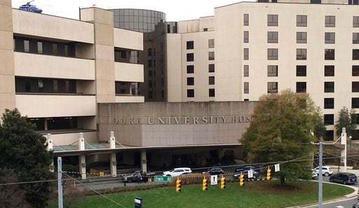 (AP Photo/Emery P. Dalesio). This photo taken Dec. 15, 2017, shows Duke University Hospital, which is part of the Duke University Medical Center in Durham, N.C. A federal anti-trust complaint filed by Dr. Danielle Seaman, a former radiology professor a...