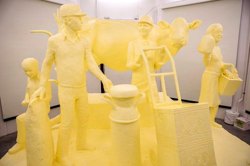 (Pennsylvania Department of Agriculture via AP). This Wednesday, Jan. 3, 2018, photo provided by the Pennsylvania Department of Agriculture shows a sculpture carved from a half-ton of butter in preparation for the 102nd Pennsylvania Farm Show, schedule...
