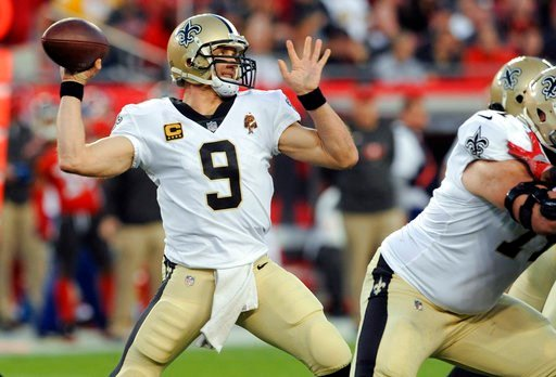 (AP Photo/Steve Nesius, File). FILE - In this Sunday, Dec. 31, 2017, file photo, New Orleans Saints quarterback Drew Brees (9) throws a pass against the Tampa Bay Buccaneers during the first half of an NFL football game in Tampa, Fla. Although Brees pa...