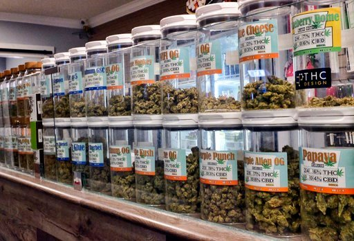 (AP Photo/Richard Vogel, File). FILE - This Friday, Nov. 3, 2017 photo shows jars of medical marijuana on display on the counter of Western Caregivers Medical marijuana dispensary in Los Angeles. When U.S. Attorney General Jeff Sessions green-lighted f...