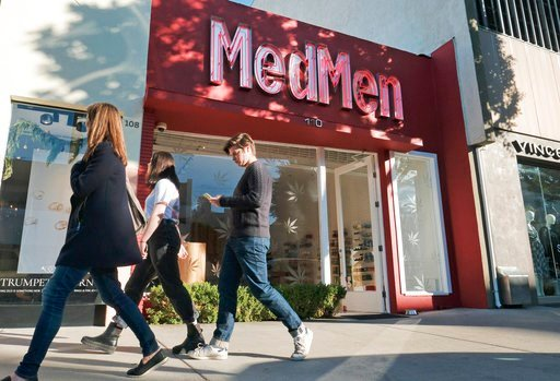 (AP Photo/Richard Vogel, File). FILE - This Thursday, Dec. 21, 2017 file photo shows the MedMen marijuana dispensary in Los Angeles. When U.S. Attorney General Jeff Sessions green-lighted federal prosecutors to pursue violators of federal marijuana law...