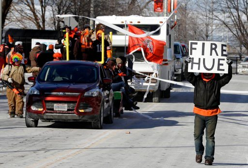 "(AP Photo/Tony Dejak). A Cleveland Browns fan holds up a sign during the ""Perfect Season"" parade, Saturday, Jan. 6, 2018, in Cleveland. The Browns became the second team in NFL history to lose 16 games in a season. In joining the 2008 Detroit Lions in ..."