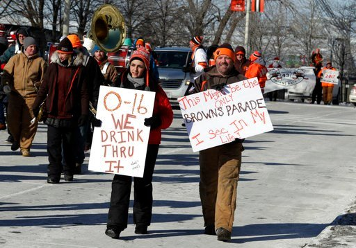 "(AP Photo/Tony Dejak). Cleveland Browns fans participate in the ""Perfect Season"" parade, Saturday, Jan. 6, 2018, in Cleveland. The Browns became the second team in NFL history to lose 16 games in a season. In joining the 2008 Detroit Lions in a shamefu..."