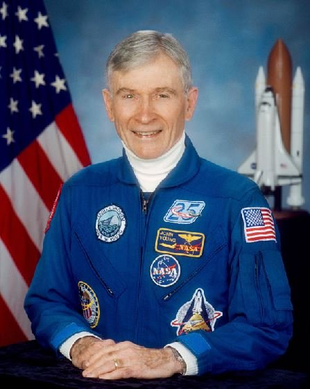 NASA says the astronaut, who walked on the moon and later commanded the first space shuttle flight, died on Friday, Jan. 5, 2018. He was 87. (NASA via AP)
