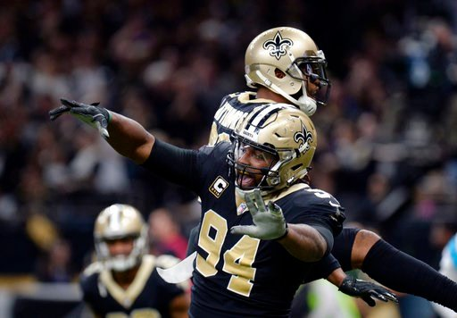 (AP Photo/Bill Feig). New Orleans Saints defensive end Cameron Jordan (94) celebrates a defensive stop in the second half of an NFL football gamemagainst the Carolina Panthers in New Orleans, Sunday, Jan. 7, 2018.