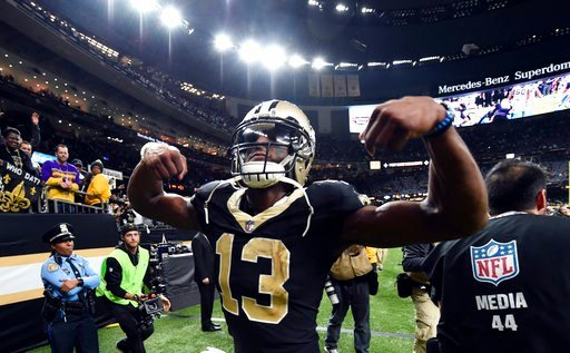 (AP Photo/Bill Feig). New Orleans Saints wide receiver Michael Thomas (13) reacts to fans after their NFL football game against the Carolina Panthers in New Orleans, Sunday, Jan. 7, 2018. The Saints won 36-21.