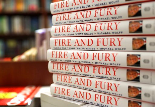"""(AP Photo/Charles Rex Arbogast). Copies of the book """"Fire and Fury: Inside the Trump White House"""" by Michael Wolff are displayed at Barbara's Books Store, Friday, Jan. 5, 2018, in Chicago."""