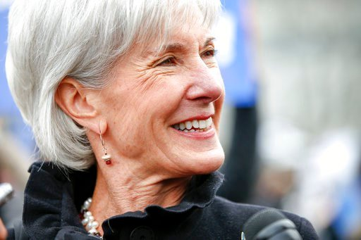 (AP Photo/Andrew Harnik, File). In this March 4, 2015, file photo, former Health and Human Services Secretary Kathleen Sebelius speaks with reporters outside the Supreme Court in Washington.