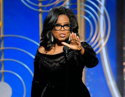 (Paul Drinkwater/NBC via AP). This image released by NBC shows Oprah Winfrey accepting the Cecil B. DeMille Award at the 75th Annual Golden Globe Awards in Beverly Hills, Calif., on Sunday, Jan. 7, 2018.