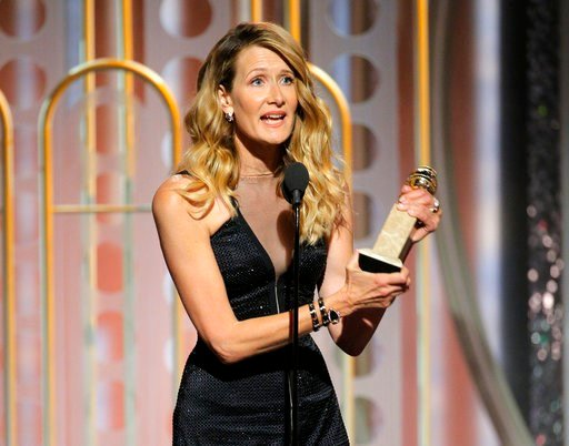"""(Paul Drinkwater/NBC via AP). This image released by NBC shows Laura Dern accepting the award for best supporting actress in a series, limited series or motion picture made for TV for her role in """"Big Little Lies,"""" at the 75th Annual Golden Globe Award..."""