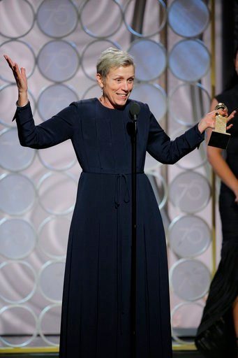 """(Paul Drinkwater/NBC via AP). This image released by NBC shows Frances McDormand accepting the award for best actress in a motion picture drama for her role in """"Three Billboards Outside Ebbing, Missouri,"""" at the 75th Annual Golden Globe Awards in Bever..."""