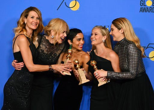 """(Photo by Jordan Strauss/Invision/AP). Laura Dern, from left, Nicole Kidman, Zoe Kravitz, Reese Witherspoon and Shailene Woodley pose in the press room with the award for best television limited series or motion picture made for television for """"Big Lit..."""