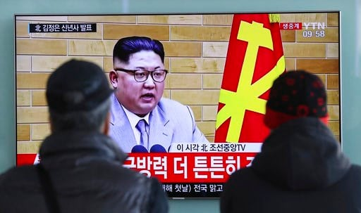 (AP Photo/Lee Jin-man, File). In this Jan. 1, 2018, file photo, South Koreans watch a TV news program showing North Korean leader Kim Jong Un's New Year's speech, at the Seoul Railway Station in Seoul, South Korea.